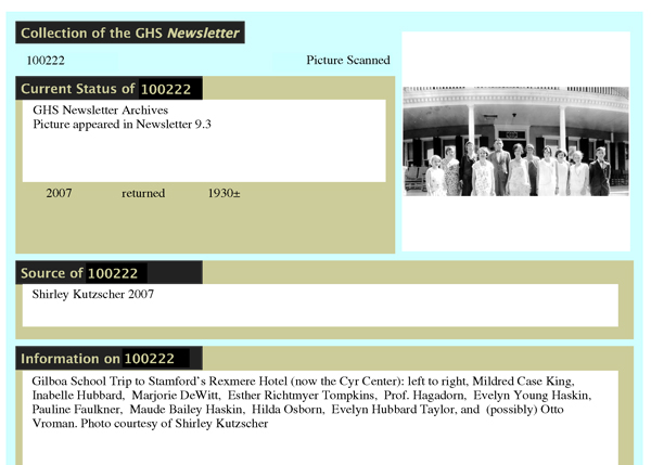 A typical sheet from the database that we designed for Northern Catskills History